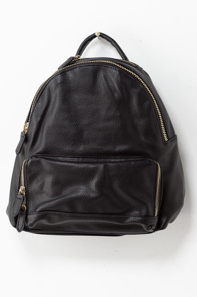 Leather Gold Zip Backpack