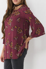 Floral Lace Up Bell Sleeve Top