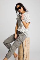 See the Stripe Button Up Top in Grey