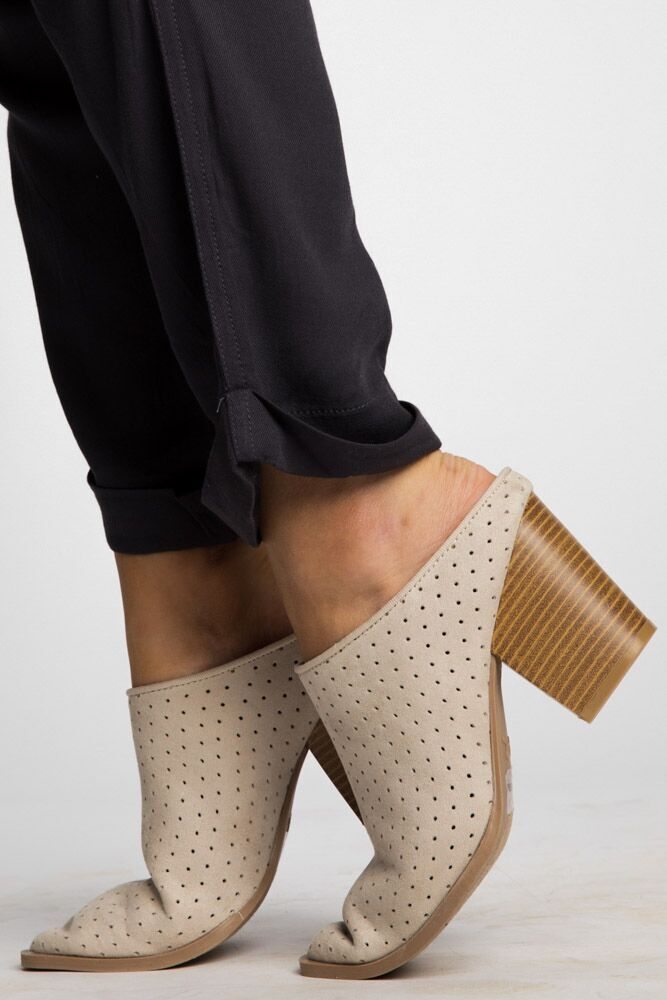 A Step Up Perforated Mule Booties in Oatmeal