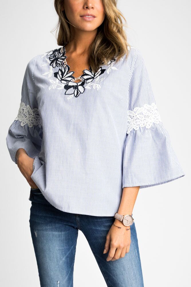 In the Flowers Embroidered Top - Bohme