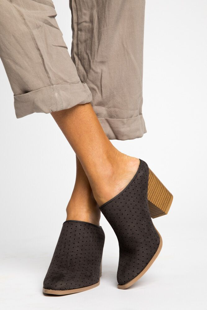 A Step Up Perforated Mule Booties in Charcoal