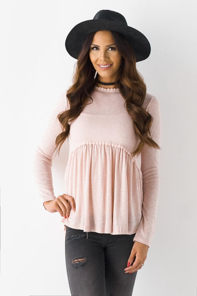 Dusty Peach Lemonade Lace Detail Top