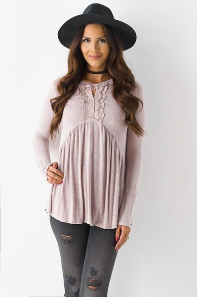 Faded Away Babydoll Top