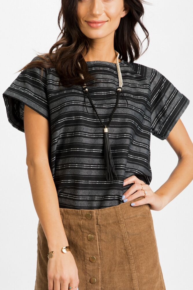 All Buttoned Up Striped Top in Black