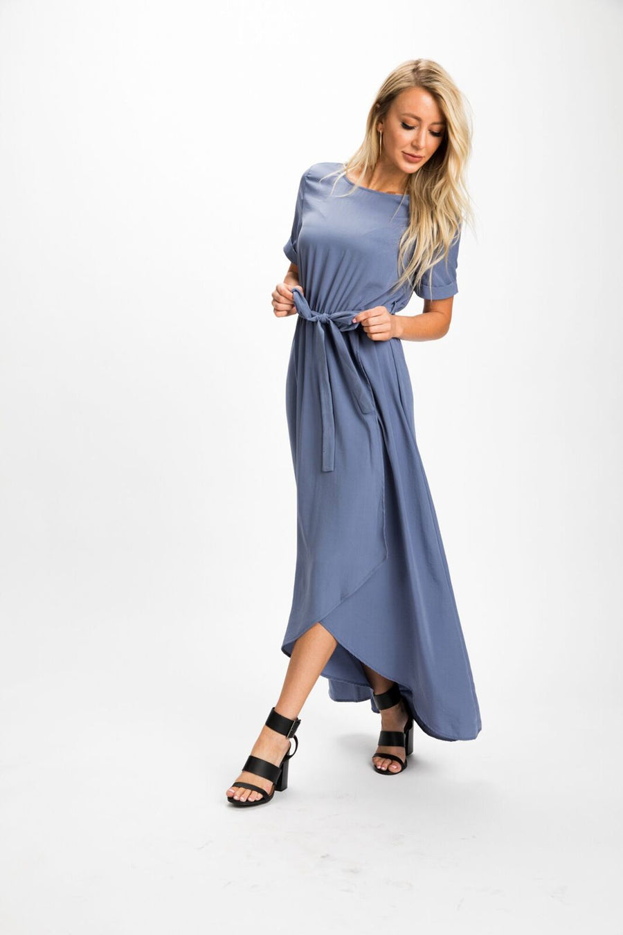 Valencia Split Front Maxi Dress in Blue