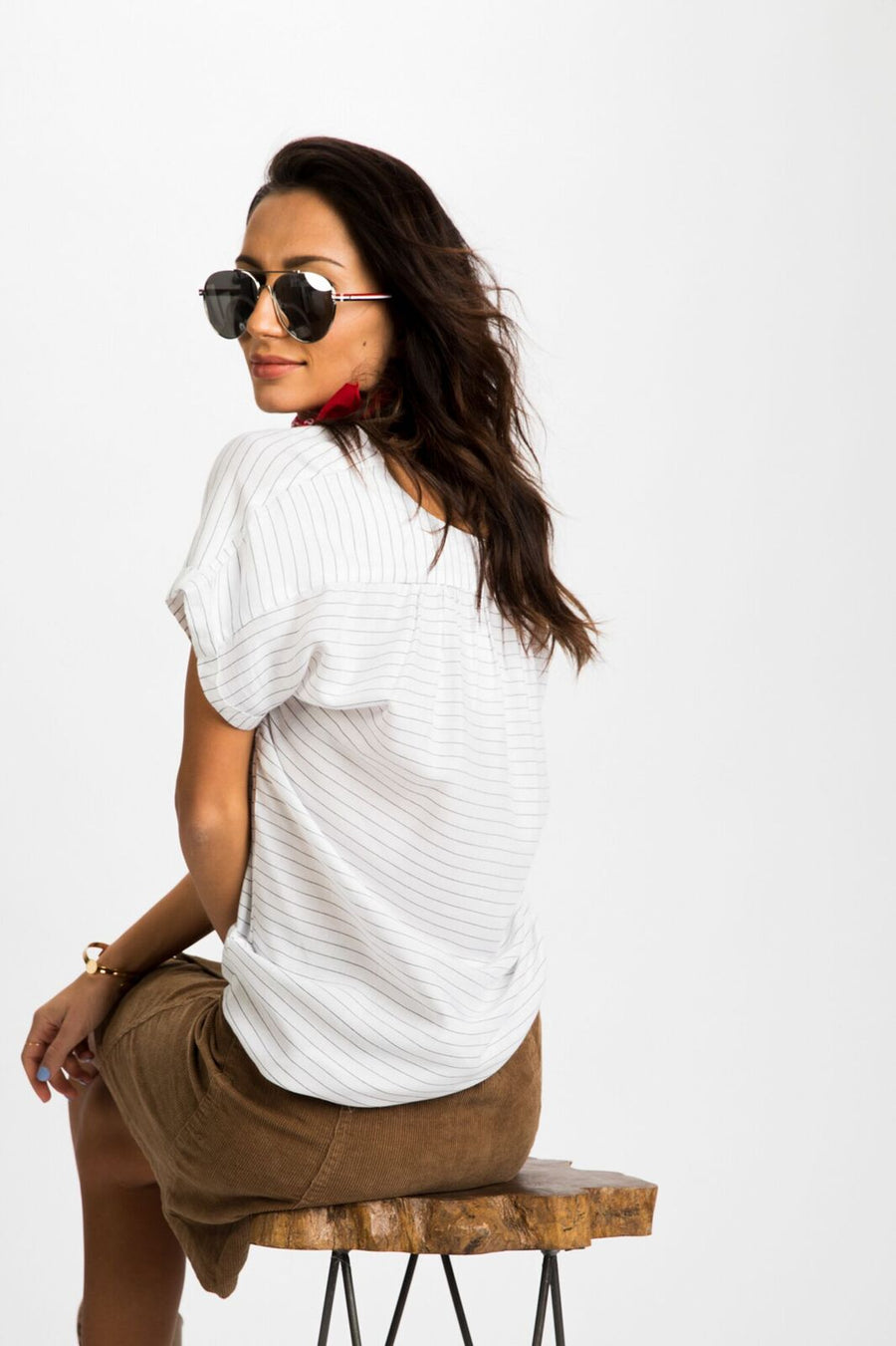 Around Town Zipper Front Top in White Pinstripe