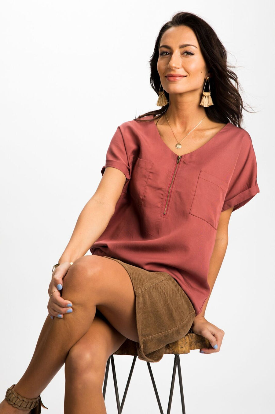 Around Town Zipper Front Top in Red Brown