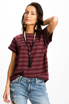 All Buttoned Up Striped Top in Burgundy