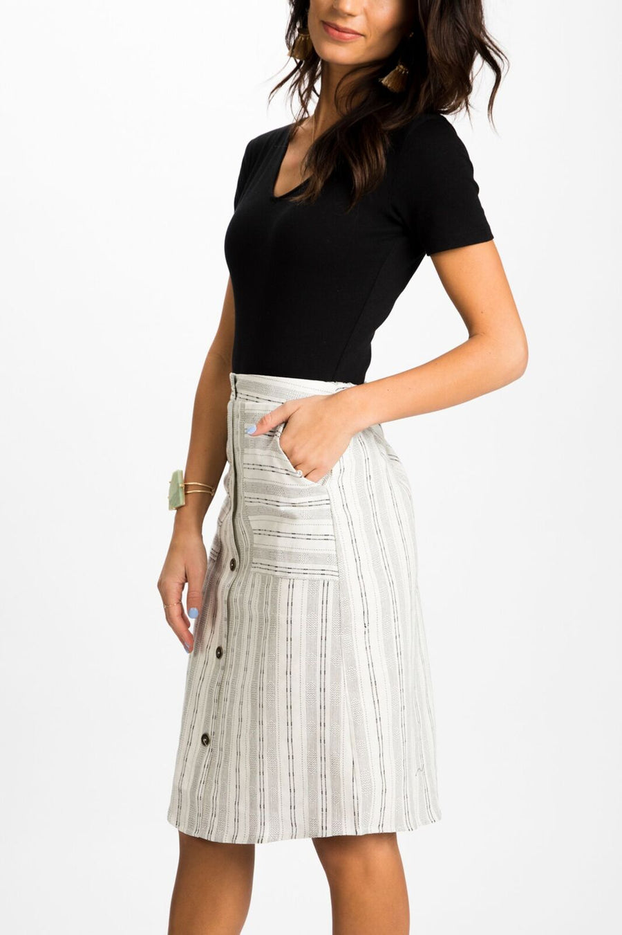 Second Glance Button Down Skirt in White