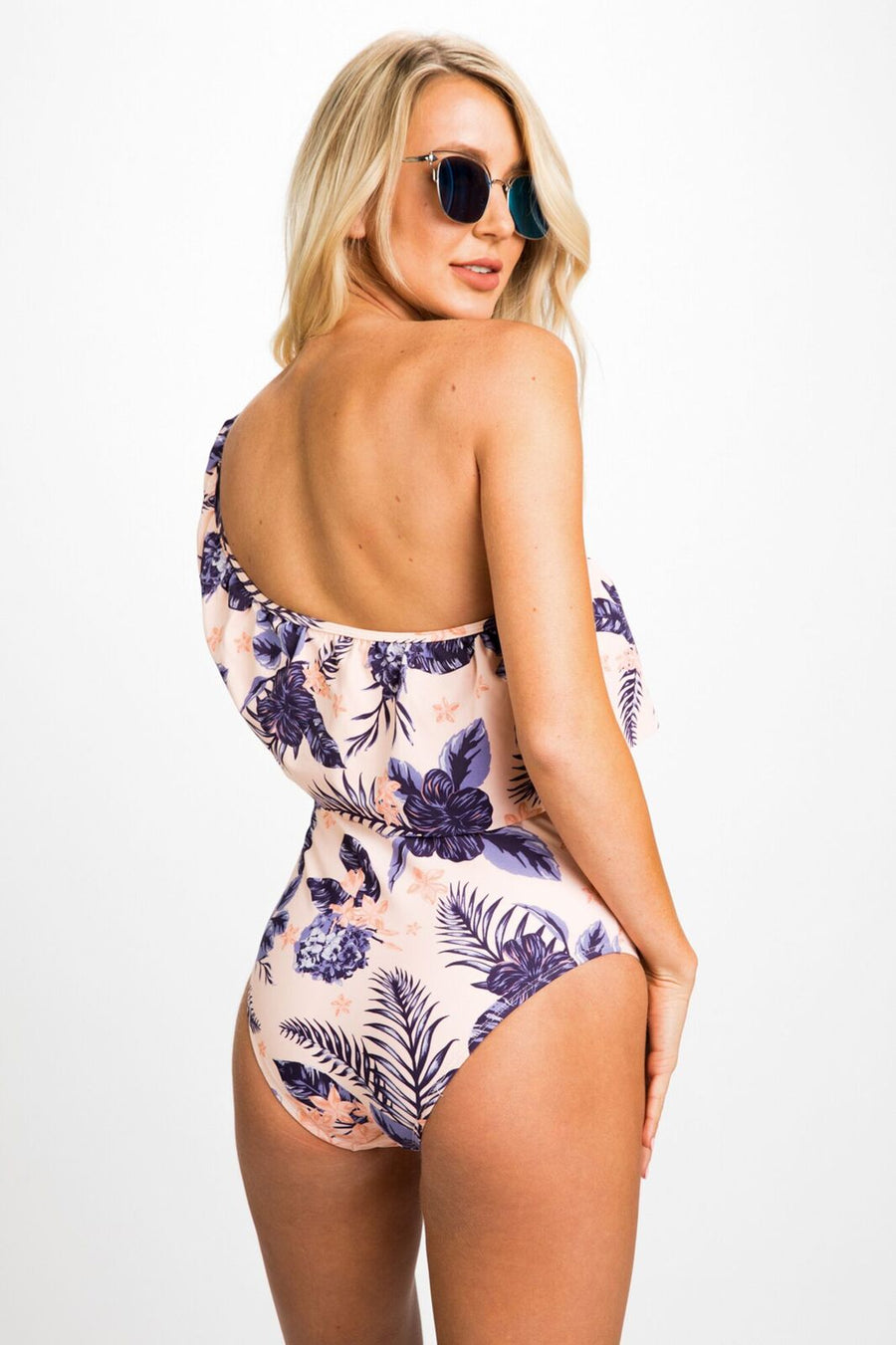 Grow With Me Floral Ruffle Shoulder One-Piece Swimsuit