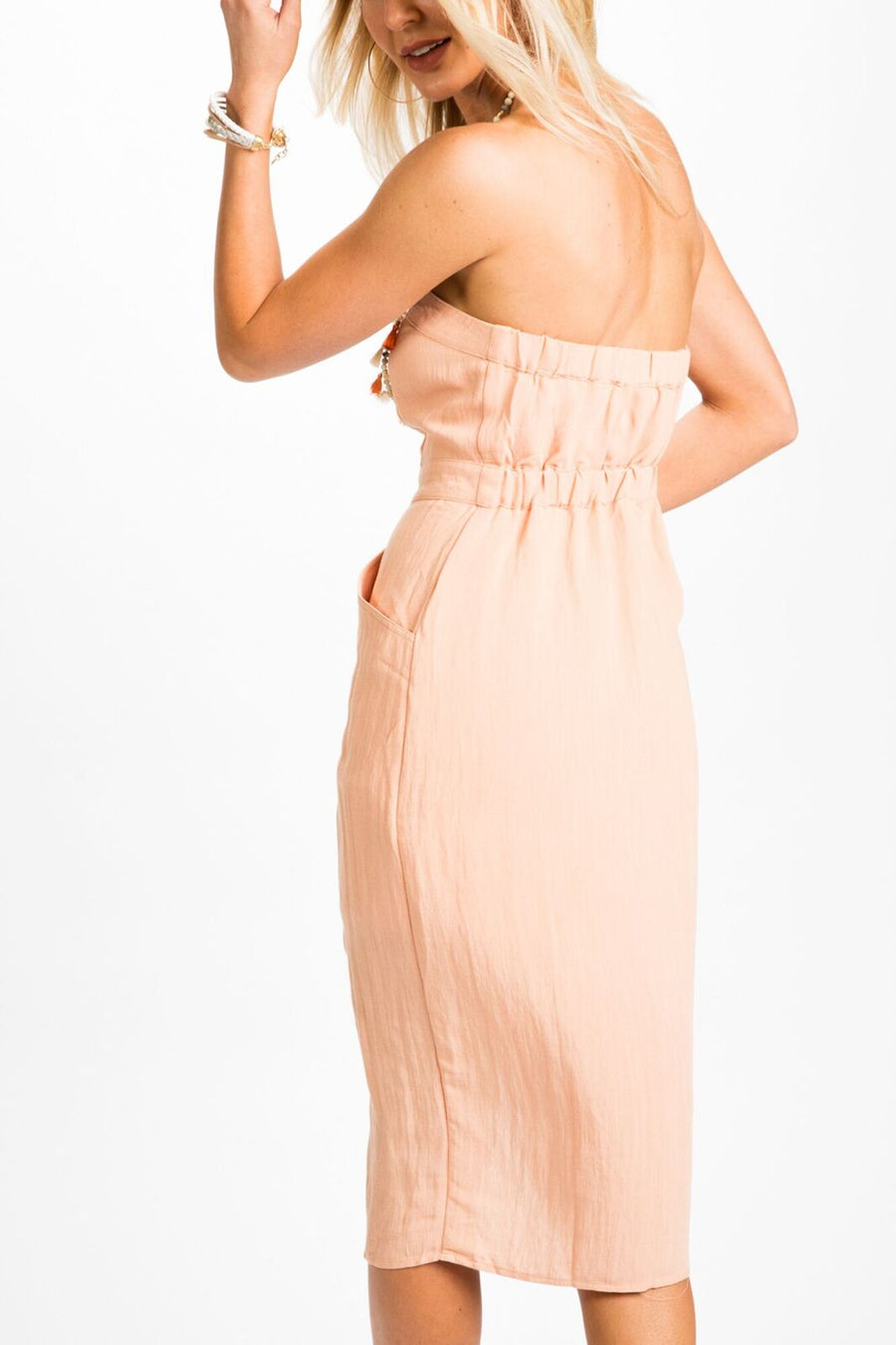 Rylee Button Front Strapless Dress