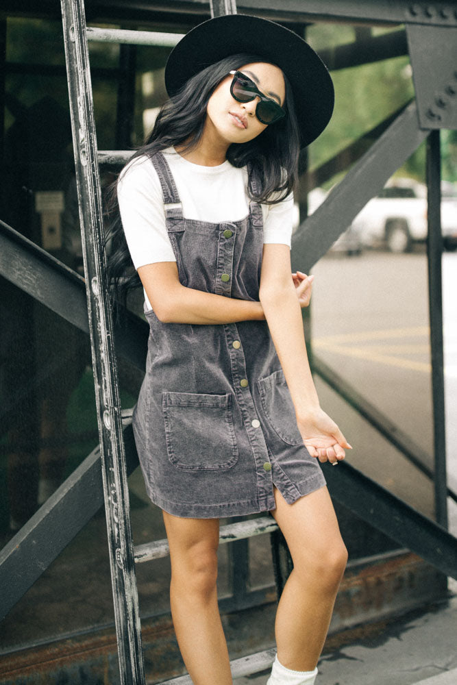 Celmia Overall Dress in Charcoal - Bohme