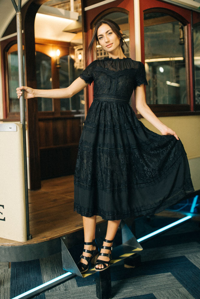 Divine Black Lace Midi Dress