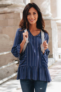 Best Version Blue Striped Top