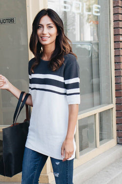 Above Average Textured Color Block Top