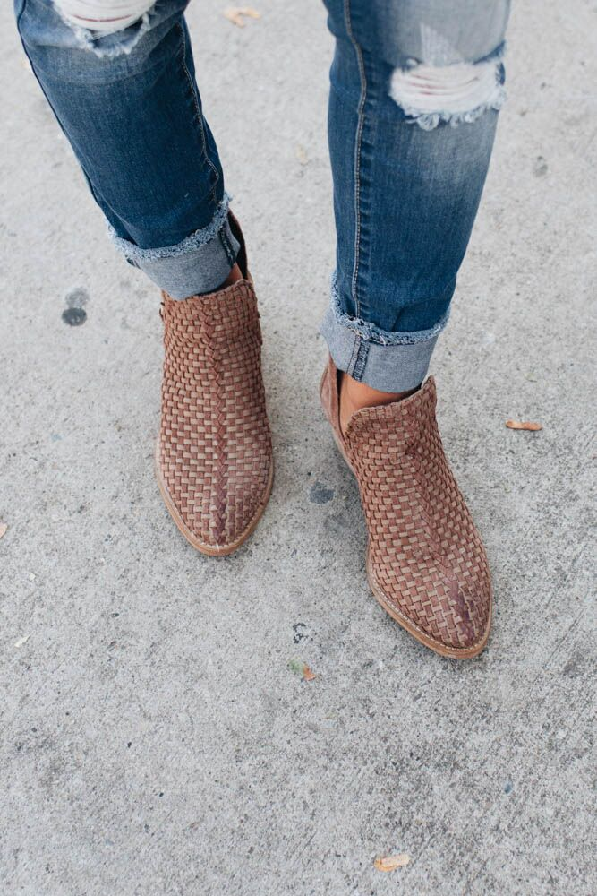 Genuine Leather Now Or Never Tan Woven Booties