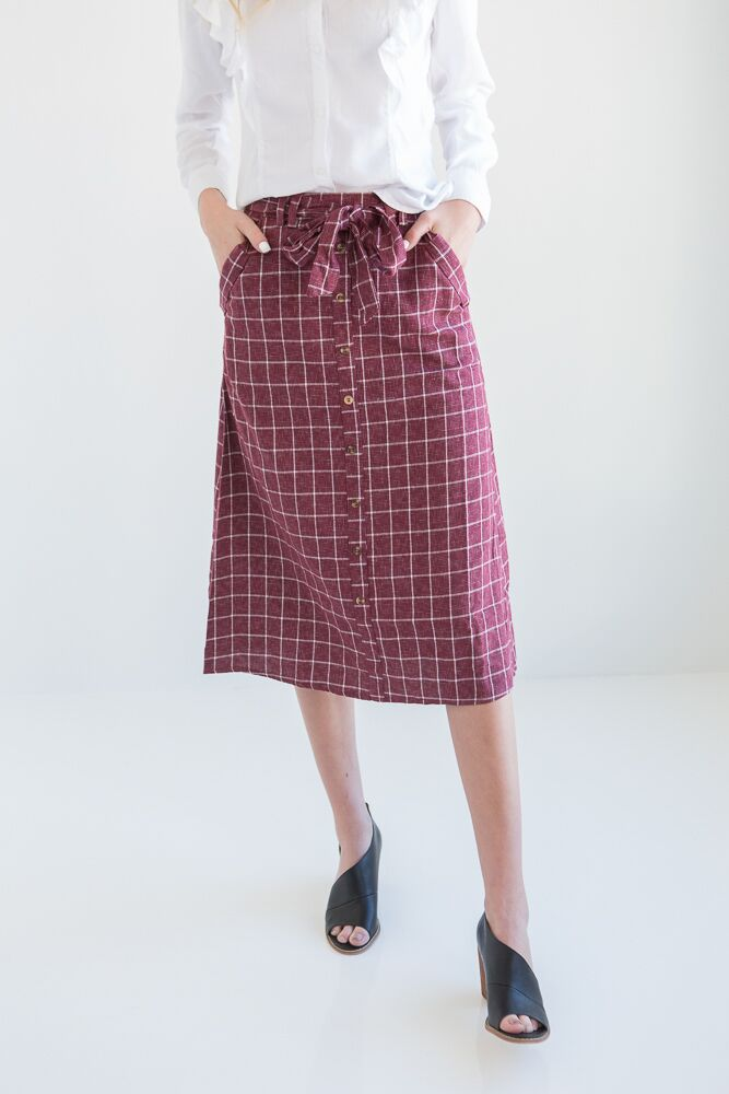 Feel A Connection Plaid Skirt-FINAL SALE