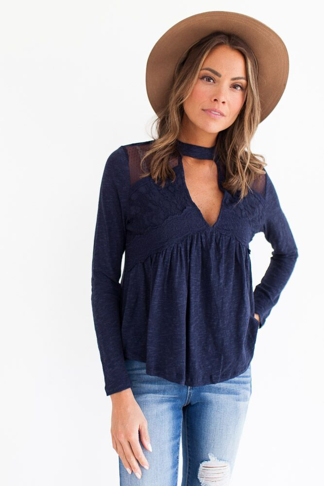 Eye On the Prize Indigo Lace Top-FINAL SALE