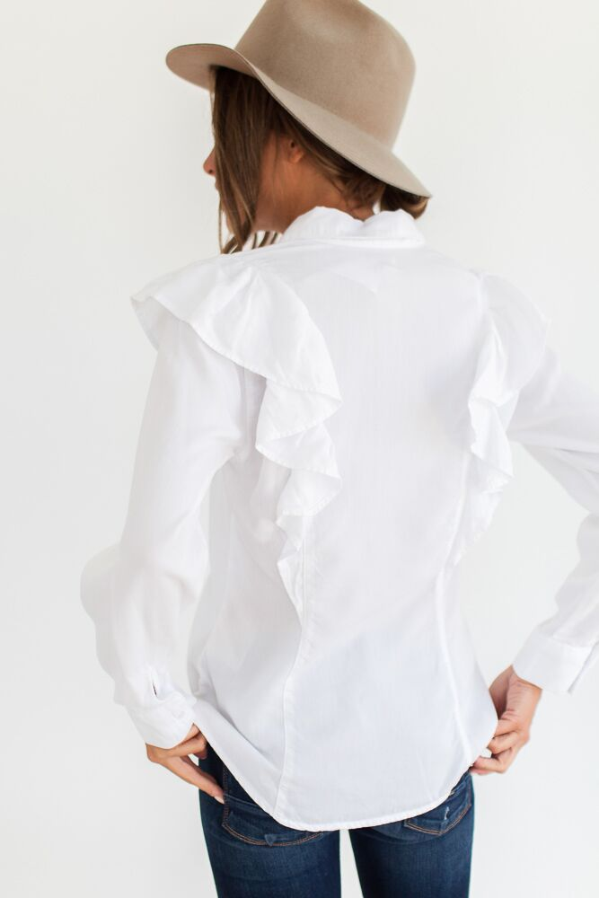 Falling For Ruffles White Tencel Top-FINAL SALE