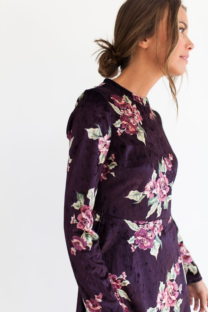 The Clara Floral Velour Dress-FINAL SALE