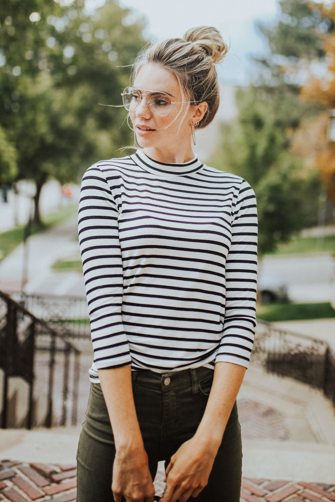 This Chic Ivory & Black Mock Neck Top