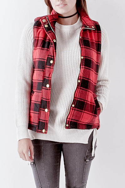 Plaid Mock Neck Vest