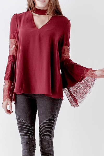 Lace Bell V-neck Cut Out