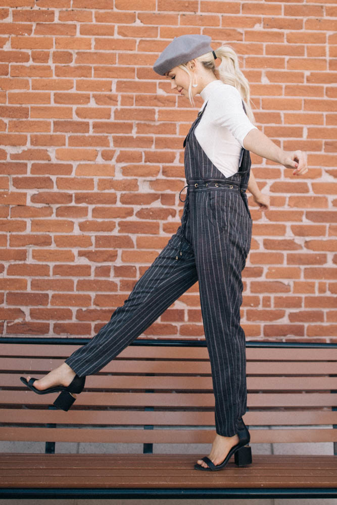 All Aboard Striped Overall Jumpsuit - Bohme