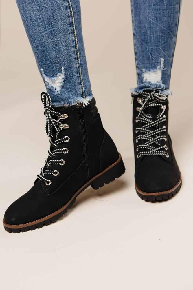 Stomp Combat Boots in Black-FINAL SALE