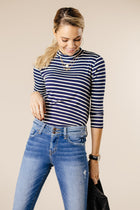 This Chic Blue & White Mock Neck Top-FINAL SALE