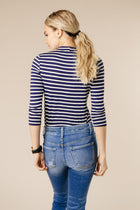 This Chic Blue & White Mock Neck Top