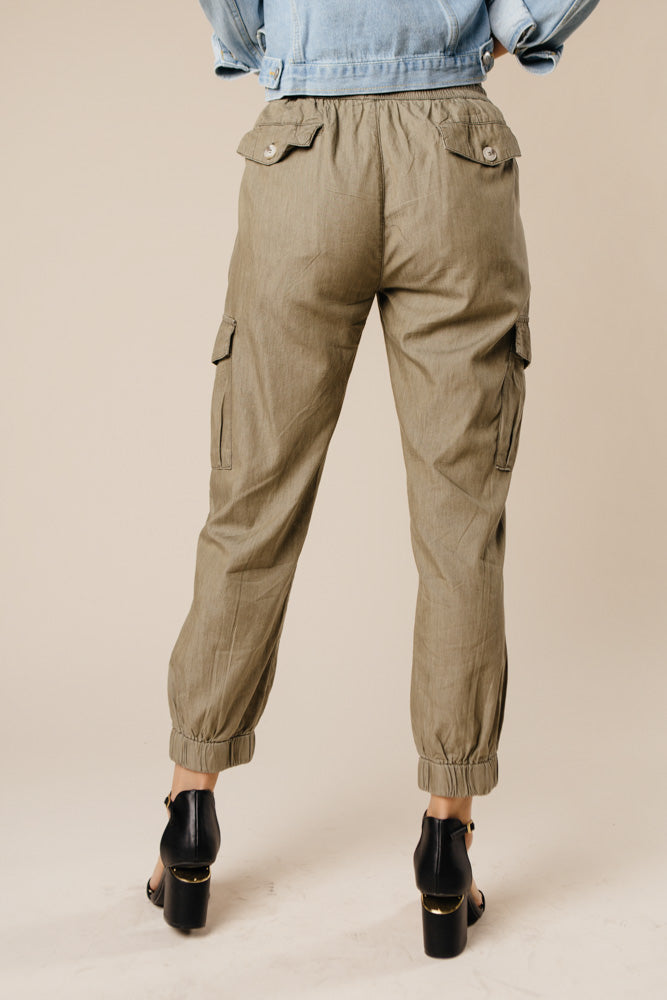 Downtown Cargo Joggers in Olive - Bohme
