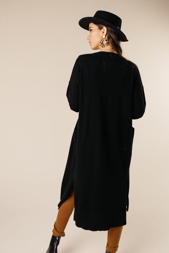 Eyes Wide Open Knit Cardigan in Black