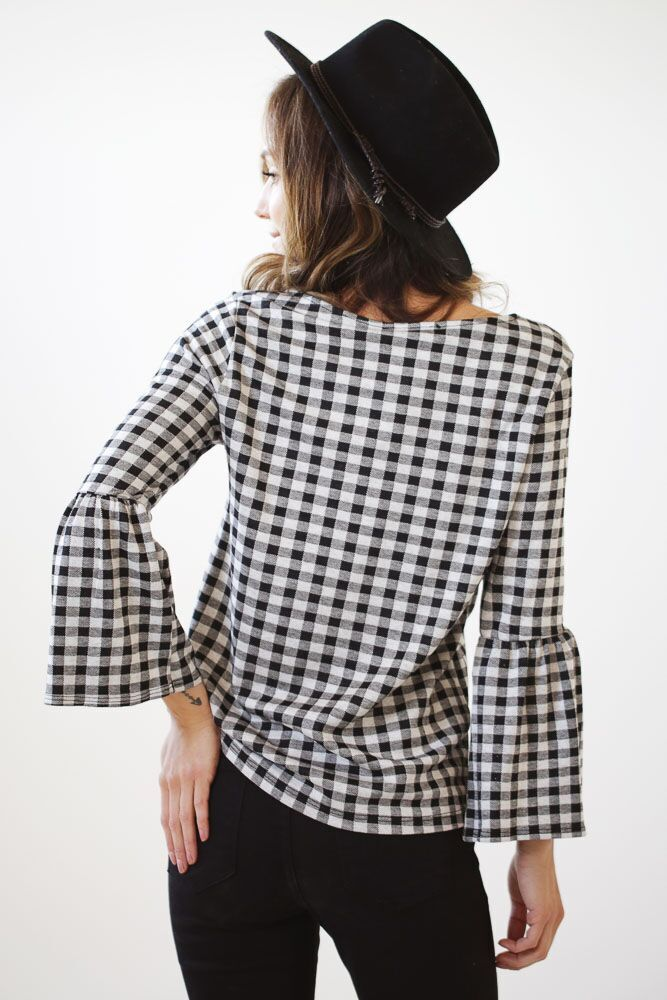 Going Gingham Flared Sleeve Top