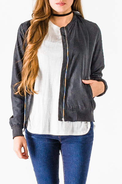 Black Zipper Suede Bomber