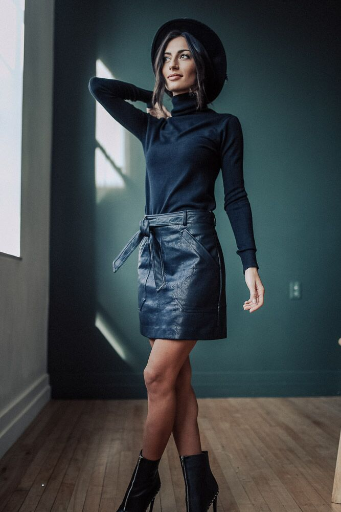 Follow My Lead Faux Leather Mini Skirt