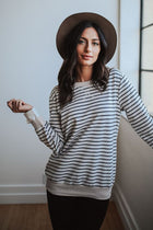 My Darling Tie Sleeve Striped Pullover