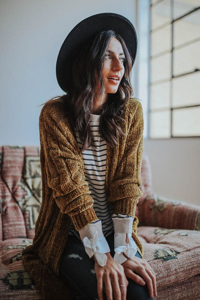Be Mine Mustard Chenille Cardigan