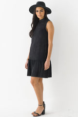 Mock Neck Ruffle Trim Dress