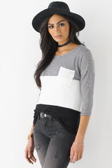Long Sleeve Color Block Stripe Tee