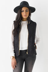 Ultra Suede Quilted Moto Vest