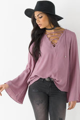 Long Sleeve Bell Lace Up