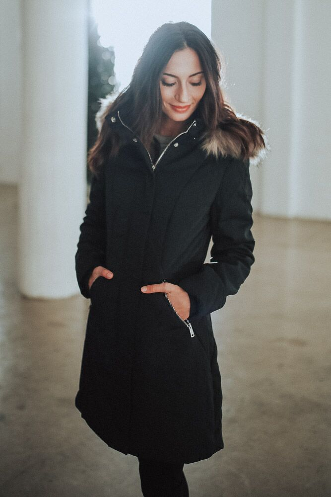 Into the Wild Fur Lined Coat in Black