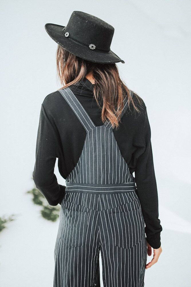 Ellie Navy Striped Overall Jumpsuit