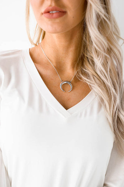 Crescent Day Moon Necklace