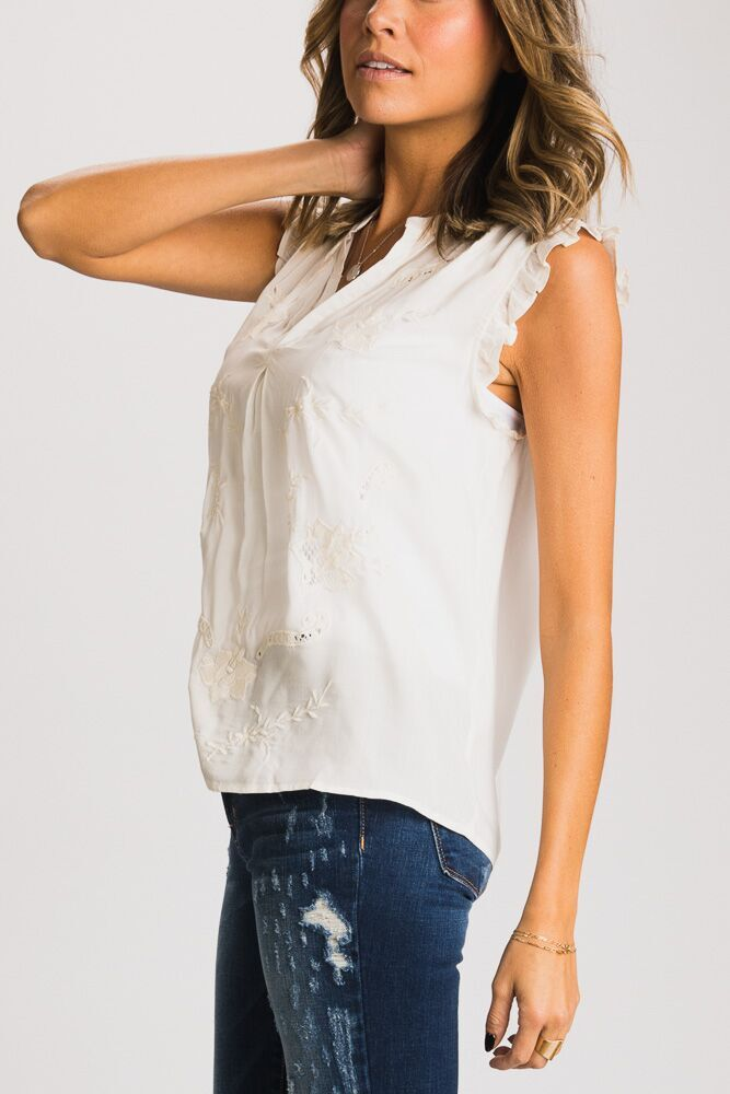 Sweet Intentions Embroidered Ruffle Sleeveless Top