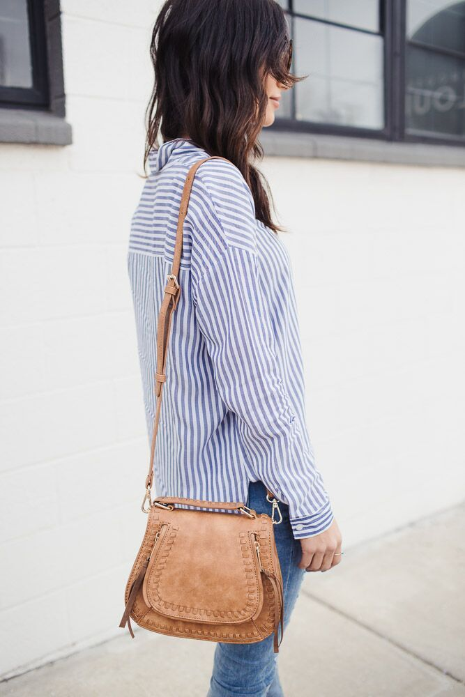 Matter Of Fact Striped Button Up Top