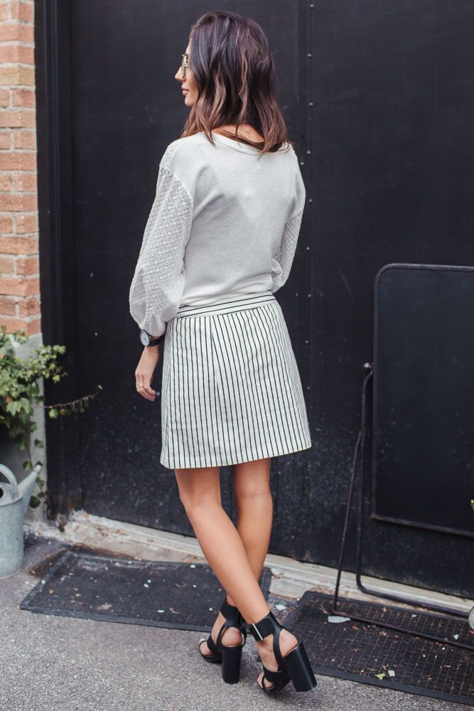 Say It Stripe Button Front Skirt