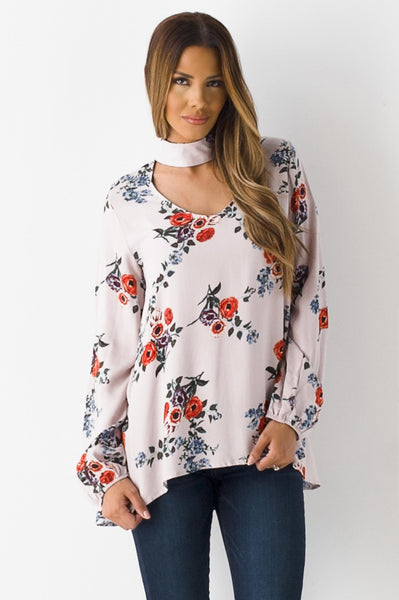 Cultured Pearl Taupe Floral Tunic